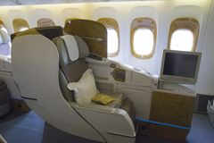 Business class seat in the airplane Royalty Free Stock Photos