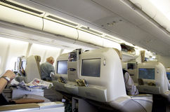 Business class seats on airplane Stock Photo