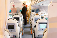 Business class seats in airplane Stock Photos