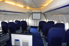 Business class. The business class section in the nose of a jumbo jet stock image