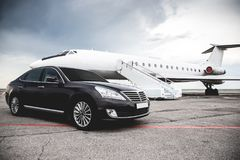 Business class service at the airport. Business class transfer. Airport shuttle.  stock photos