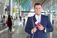 Business class traveler satisfied with his trip stock photo