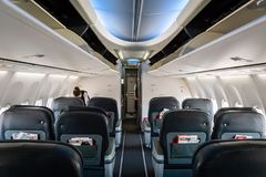 Business class of Turkish airlines aircraft. Istanbul, Turkey - June 2018: Business class of Turkish airlines aircraft. Turkish airlines is the national flag royalty free stock photography