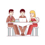 Business client meeting at restaurant table. Partners team having informal dinner discussing matters and drinking wine. Modern flat style thin line vector Royalty Free Stock Image