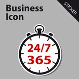 Business Clock Icon 24/7 365 Days - Sticker label for Customer S. Ervice, Support, Call Center... Isolated on White Royalty Free Stock Image