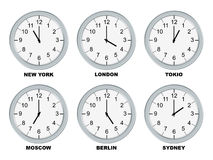 Business clocks. Analog clocks isolated on a white background royalty free illustration