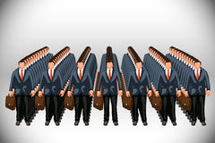 Business clone. Bisuness clone army with cases on grey background Royalty Free Stock Photos