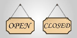 Closed open board wood hang vector royalty free stock photo
