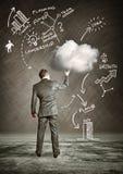 Business Cloud. A businessman holding a cloud idea stock images