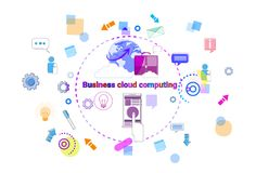 Business Cloud Computing Concept, Remote Data Storage Access Technology Banner. Vector Illustration Stock Images