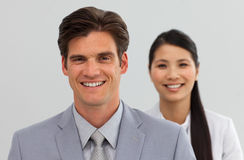 Business co-workers standing in a line Royalty Free Stock Photos