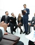 Business coach communicate with the business team. The concept of team building Stock Photo