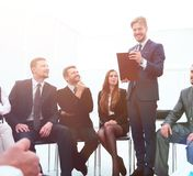 Business coach communicate with the business team. The concept of team building Stock Image