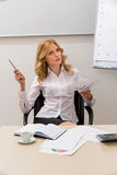 Business coach conducts training. Business woman presents a successful business project. Business coach conducts training royalty free stock image