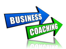 Business coaching in arrows. Business coaching - text in 3d arrows, management develop concept Royalty Free Stock Photos