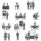 Business coaching black icons set Royalty Free Stock Photo