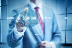 Business Coaching. Concept, businessman selecting interface Stock Images