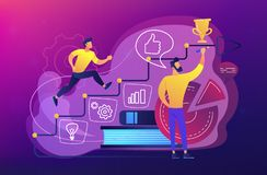Business coaching concept vector illustration. A man running up to the hand drawn stairs as a concept of coaching, business training, goal achievment, success stock illustration