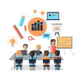 Business Coaching Concept. Woman making a presentation near whiteboard with infographics before an audience. Audience at the conference hall. Business seminar Stock Photo