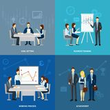 Business coaching 4 flat icons square Stock Photography
