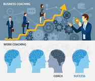 Business coaching horizontal flat banners set. Business coaching as a way to quick success two horizontal flat banners set poster abstract vector illustration Stock Images