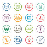 Business Coaching Icon Set. Online Learning. Flat Design. Royalty Free Stock Photos