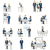 Business Coaching Icons Set. With discussion diagrams and team flat  vector illustration Stock Images