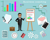 Business Coaching infographic. Man with board and different business elements Royalty Free Stock Photos