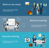 Business coaching investment flat banners set Royalty Free Stock Images