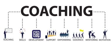 Business Coaching Leadership Mentoring Concept. Vector Illustration. Vector illustration. Business coaching mentoring concept. Icons words typography and symbol royalty free illustration