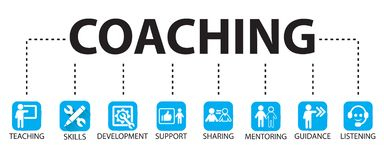 Business Coaching Leadership Mentoring Concept. Vector Illustrat. Vector illustration. Business coaching mentoring concept. Icons words typography and symbol of vector illustration