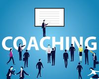 Business Coaching Leadership Mentoring Concept. Vector Illustrat. Vector illustration. Business coaching mentoring concept. Leader giving guidance teaching his vector illustration