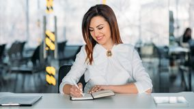Business coaching successful professional career. Business coaching. Successful professional career. Young brunette lady sitting at desk taking notes, smiling royalty free stock image
