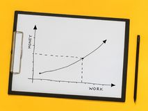 Business coaching, training. Growth chart on a piece of paper royalty free stock photography