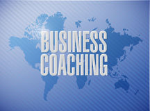 Business coaching world map sign concept Stock Image