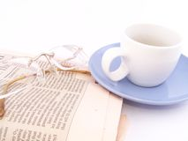 Business coffee. Morning, business coffee. Reading the news Stock Photos