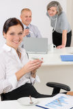 Business coffee break young woman in office Stock Photos