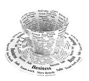Business coffee cup. Coffee cup with word business success sale teamwork and benefit Stock Photo
