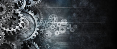 Business Cogs Technology Banner Background. A banner background with cogs and computer circuits stock photos
