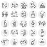Business collaboration thin line set circles white background. Icons stock illustration