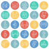 Business collaboration thin line set color circles background. Icons royalty free illustration