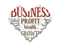 Business collage. Heart shaped collage of words relating to business Royalty Free Stock Photos