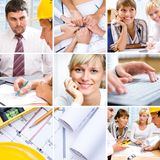 Business collage. Collage of photographs on the subject of a successful business, constructor, teamwork royalty free stock photo