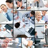 Business collage. Collage of business people and business objects Stock Photo