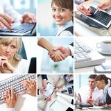 Business collage. Collage of photographs on the subject of a successful business Stock Photos