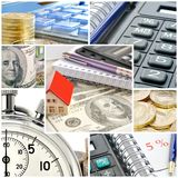 Business collage. A collage of photos on the subject of business, time and money Royalty Free Stock Photo