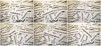 Business collage. Cut-outs of words related with business activity, accumulated in collage royalty free stock photo