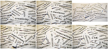 Business collage. Cut-outs of words related with business activity, accumulated in collage royalty free stock images