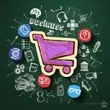 Business collage with icons on blackboard. Vector illustration Stock Images