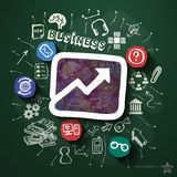 Business collage with icons on blackboard Royalty Free Stock Images